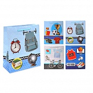 Пакет подарочный бумажный S1535 Для мальчиков, 6 видов в ассортименте (32x26x10 см)