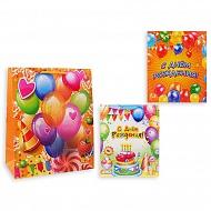 Пакет подарочный бумажный S1511 С днем рождения, 3 вида в ассортименте (32x26x13 см)