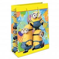 """Пакет подарочный бумажный R31380 """"Миньоны"""" желтый, 35*25*9 см"""