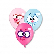 Веселая Затея 1111-0464 Набор шаров Смешарики Улыбки 4 цвета, 36 см 3 шт