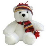 Aurora Медведь белый в шапке, 30 см