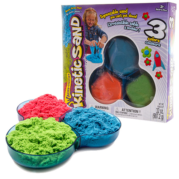 Kinetic sand 71403 Кинетик сэнд Кинетический песок для лепки, 3 цвета в наборе (в ассортименте)