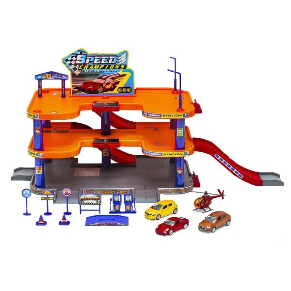 Welly 96050 Велли Игровой набор Гараж, 3 уровня, включает 3 машины и вертолет chapmei chapmei игровой набор десантный вертолет