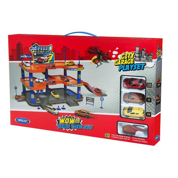 Welly 96050 Велли Игровой набор Гараж, 3 уровня, включает 3 машины и вертолет