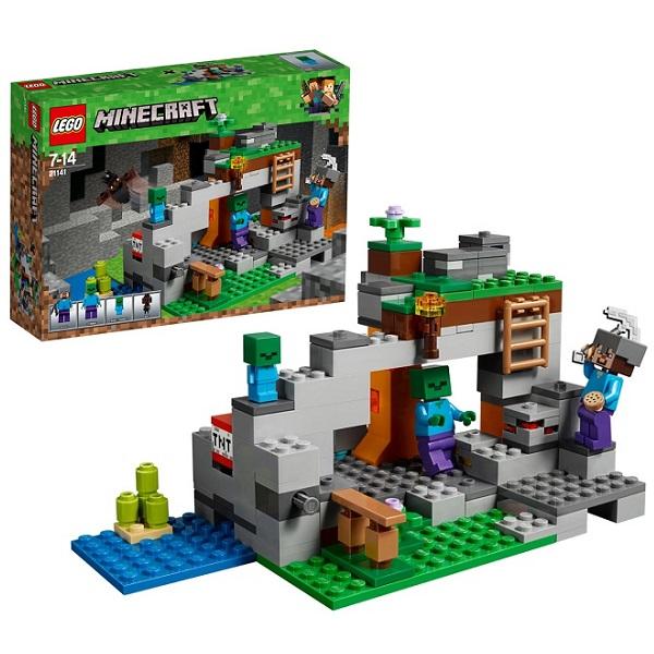 цена на LEGO Minecraft 21141 Конструктор ЛЕГО Майнкрафт Пещера зомби