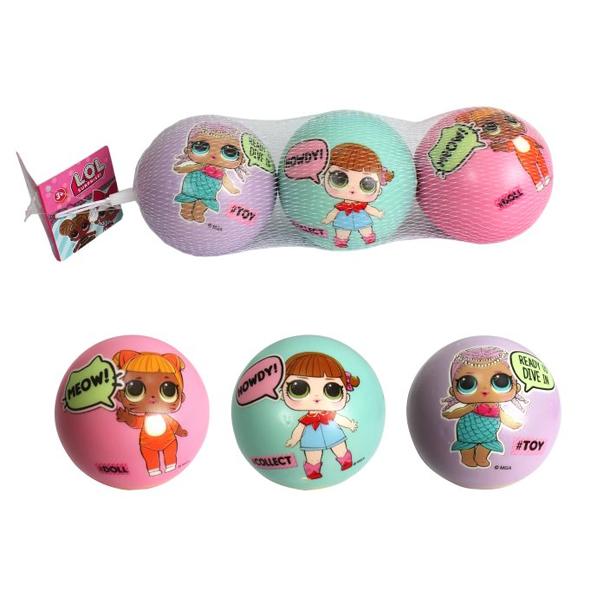 1toy T15184 LOL Мячики PU с принтом, 7,5 см., 3шт. в сетке