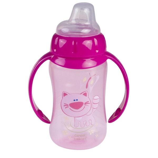 Canpol babies 250930158 Поильник обучающий с силиконовым носиком и ручками, розовый, 320 мл. 6м+