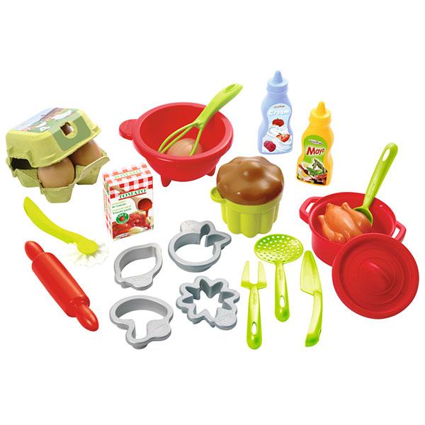 Ecoiffier 2617S Набор посудки с продуктами - 26 предметов цена