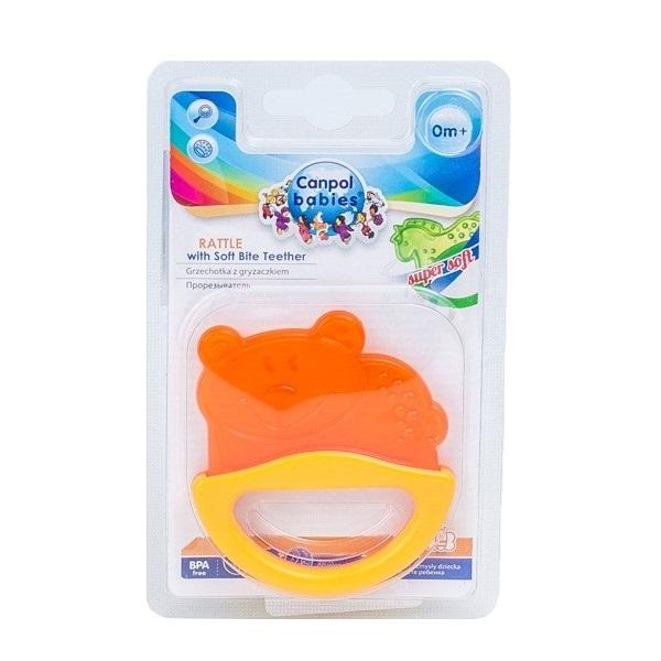 Canpol babies 250930510 Погремушка с эластичным прорезывателем, 0+, цвет: желтый, форма: мишка