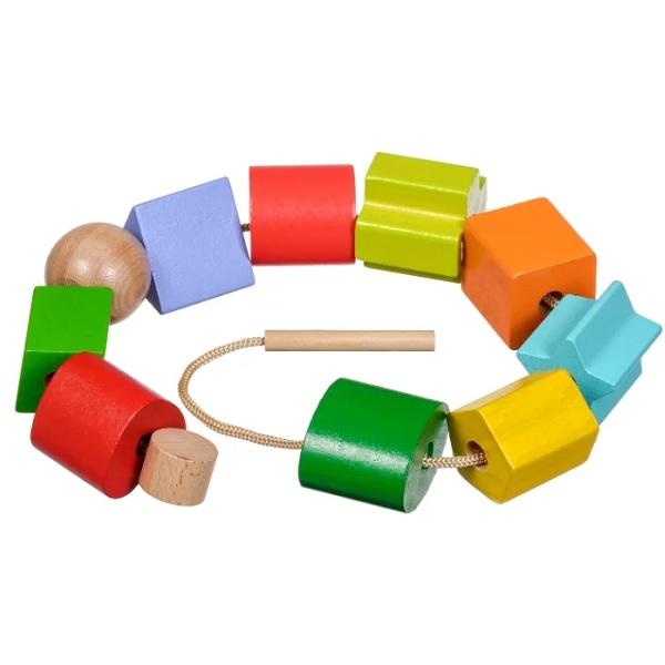 Игрушки из дерева D389 Бусы Геометрия