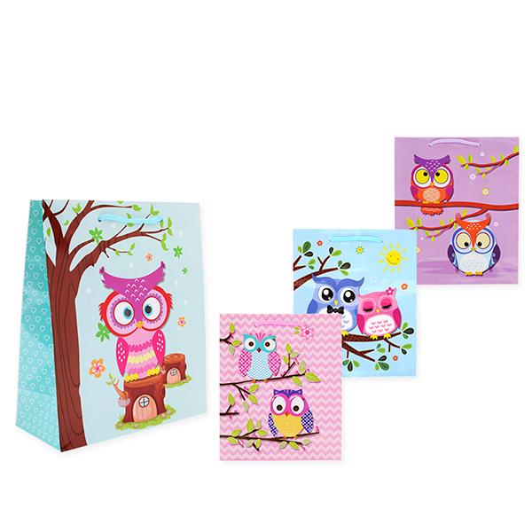 Пакет подарочный бумажный S1030 СОВЫ 32x26x13 см, 4 вида (в ассортименте) пакет подарочный бумажный s1511 с днем рождения 3 вида 32x26x13 см в ассортименте