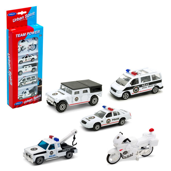 """Welly 97506A-1 Велли Игровой набор """"Полицейская команда"""" 5 шт."""