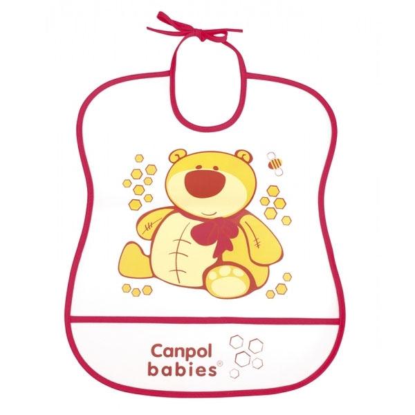 Canpol babies 250930228 Нагрудник пластиковый мягкий, красный мишка