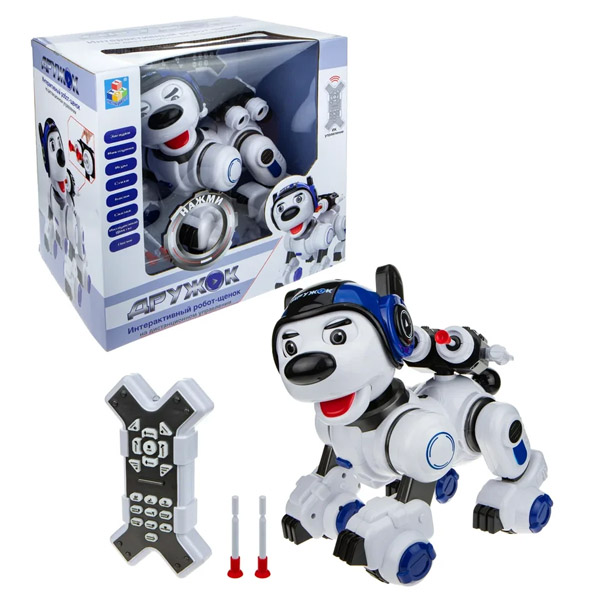 Фото - 1toy T16453 Интерактивный радиоуправляемый Робот-Щенок ДРУЖОК радиоуправляемые игрушки 1 toy интерактивный радиоуправляемый щенок робот дружок