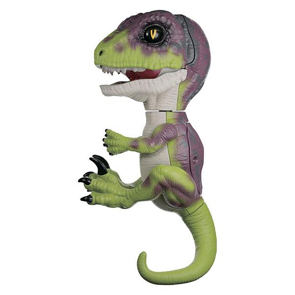 FINGERLINGS UNTAMED DINO 3782M Интерактивный динозавр Стелс (зеленый с фиолетовым) 12 см