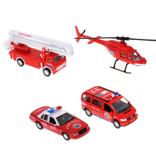 Welly 98160-4C Велли Игровой набор машин Пожарная служба 4 шт welly welly набор служба спасения скорая помощь 4 штуки