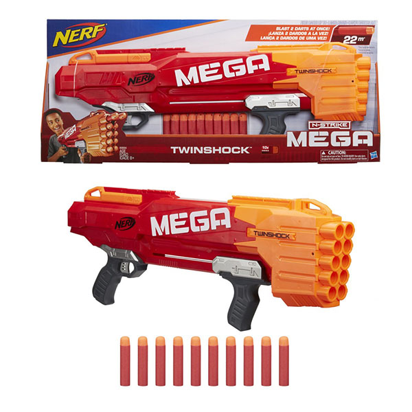 Hasbro Nerf B9894 НЁРФ МЕГА Твиншок (бластер) игрушечное оружие nerf hasbro бластер зомби страйк сайдстрайк
