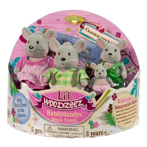 Li'l Woodzeez 6003Q Лил Вудзиз Семейка Мышей (4 шт) в наборе с книжкой