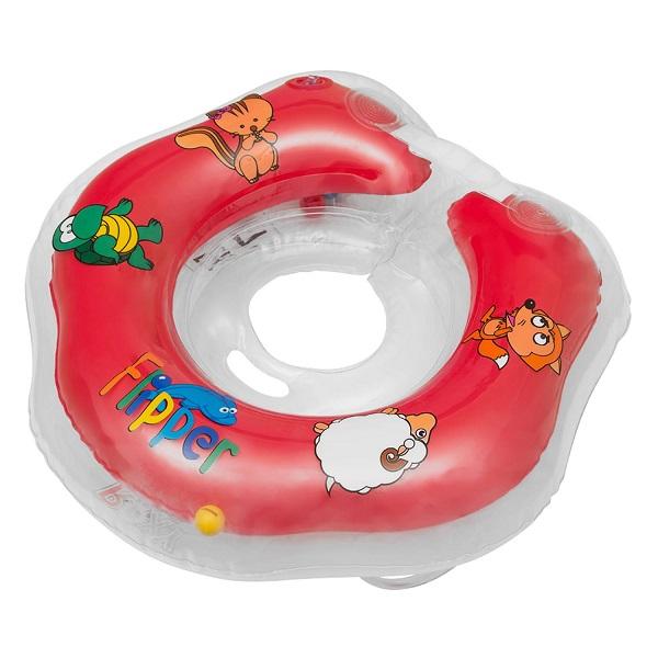 ROXY-KIDS FL001-R Надувной круг на шею для купания малышей Flipper, красный
