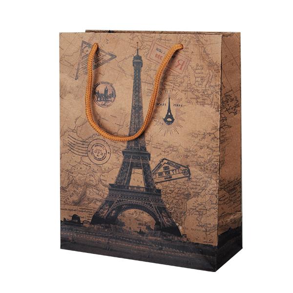Пакет подарочный бумажный, ПАРИЖ (крафт) S1547 33х24х8 см цена