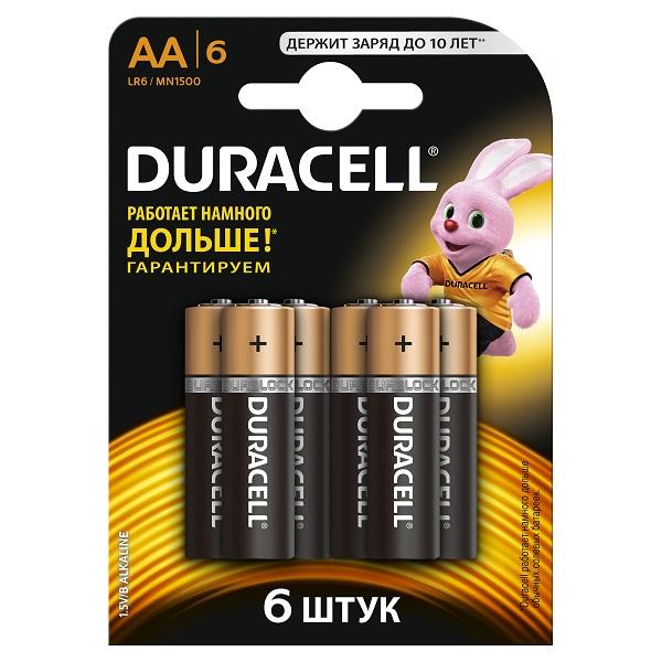 Батарейки Duracell LR6 BL6 12645 Дюрасел АА 6 шт. на блистере