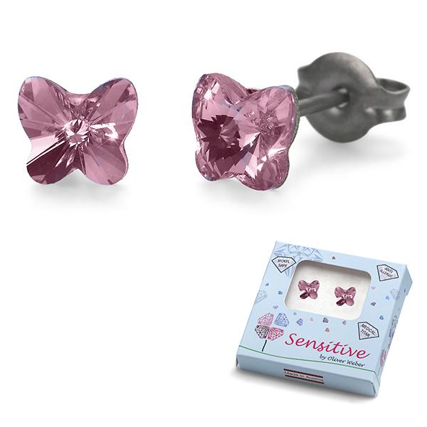 Oliver Weber S24011-223 Серьги из металла Oliver Weber Бабочки (розовые)