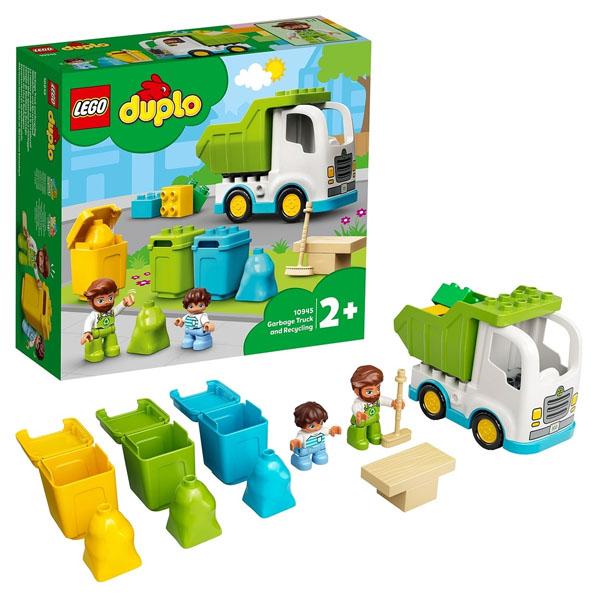 LEGO DUPLO 10945 Конструктор ЛЕГО ДУПЛО Мусоровоз и контейнеры для раздельного сбора мусора