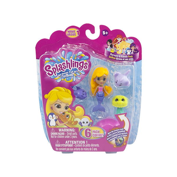 Splashlings 297580 Сплешлингс Игровой набор Русалка + 4 питомца + 1 ракушка (в ассортименте)