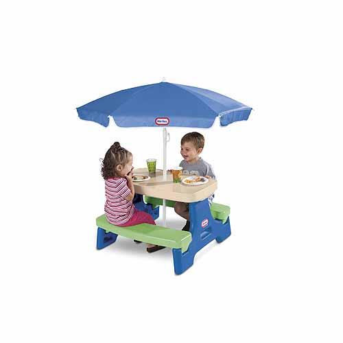 Little Tikes 629945 Литл Тайкс Стол с двумя скамейками и зонтом