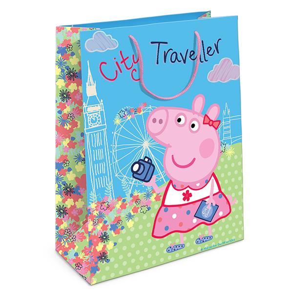 Пакет подарочный бумажный R31019 Пеппа на каникулах, 35*25*9 росмэн пакет подарочный пеппа и елка 230 180 100
