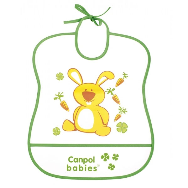 Canpol babies 250930227 Нагрудник пластиковый мягкий, зеленый зайка