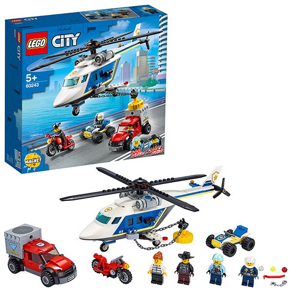 LEGO City 60243 Конструктор ЛЕГО Город Погоня на полицейском вертолёте конструктор lego city погоня по грунтовой дороге 297 элементов 60172
