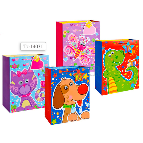 Пакет подарочный бумажный, 4 вида TZ14031 (32*26*12 см) (в ассортименте) пакет подарочный бумажный garden tz6617 32 5 26 11 5 см в ассортименте