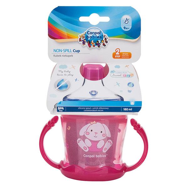 Canpol babies 250989259 Чашка-непроливайка sweet fun 180 мл,розовая