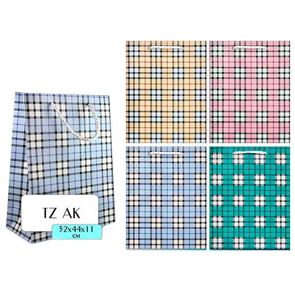 Пакет подарочный бумажный TZAK Клетка 32*44*11 см, 4 цвета пакет подарочный бумажный s1493 голография 32х26х13 см в ассортименте