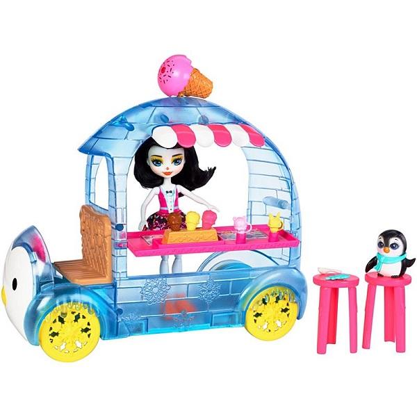 """Mattel Enchantimals FKY58 Игровой набор """"Фургончик мороженого Прины Пингвины"""""""