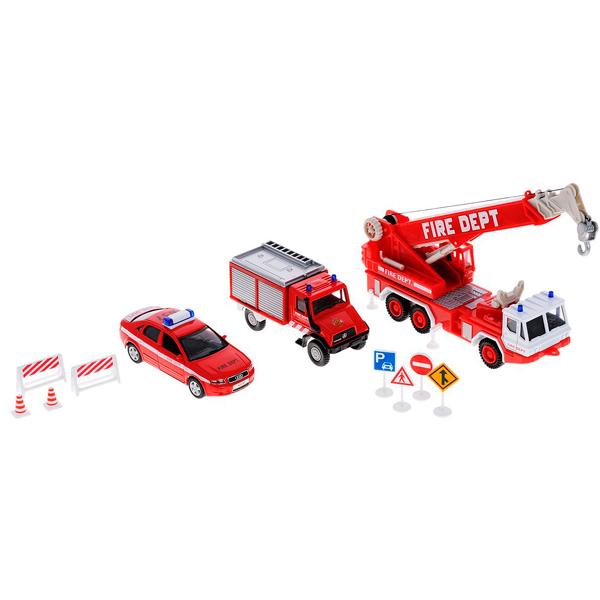Welly 99610-10B Велли Игровой набор машин Пожарная служба 10 шт welly welly набор служба спасения пожарная команда 4 штуки