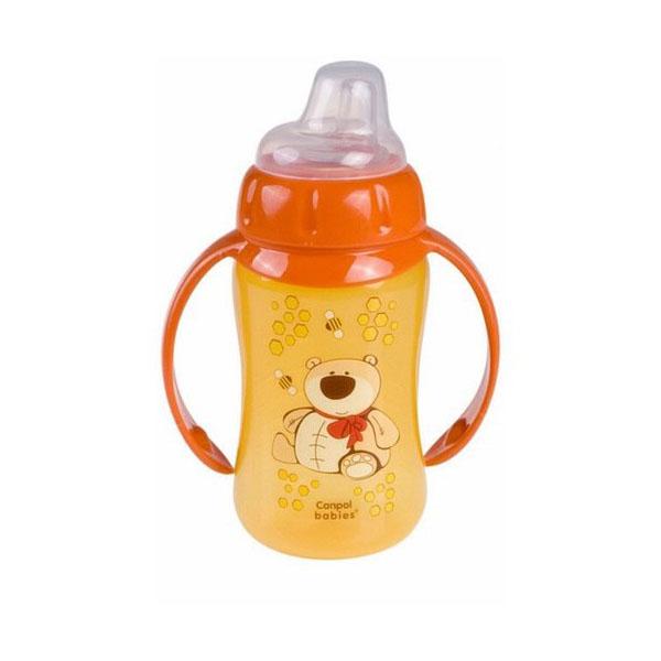 Canpol babies 250930156 Поильник обучающий с силиконовым носиком и ручками, оранжевый, 320 мл. 6м+