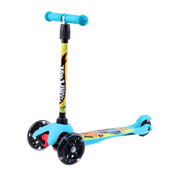 Hot Wheels HW4PB1 Самокат 3-х колесный, голубой, размеры: 55х21,5х67см самокат hot wheels