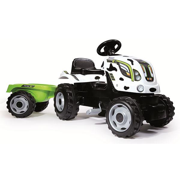 Smoby 710113 Трактор педальный XL с прицепом, пятнистый smoby 710108 трактор педальный xl с прицепом красный