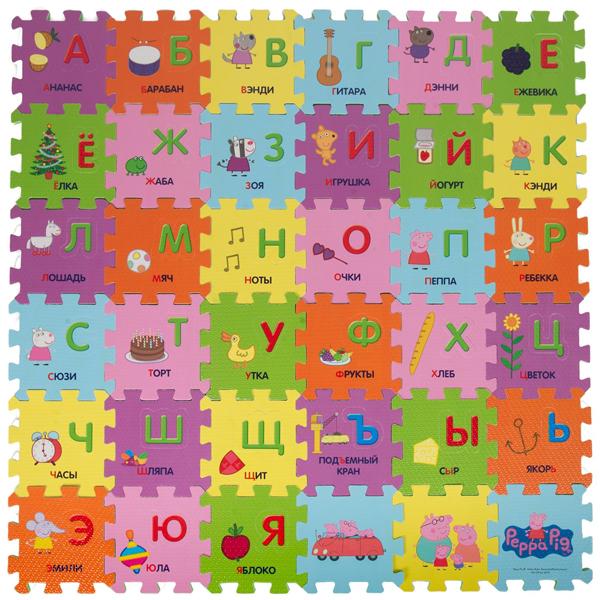 Peppa Pig 30128 Коврик-пазл Учим азбуку с Пеппой (36 сегментов) peppa pig коврик пазл peppa pig город пеппы 9 сегментов