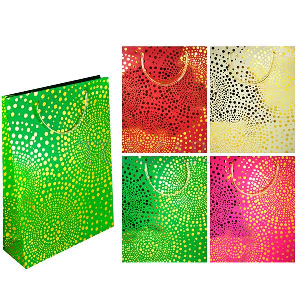 Пакет подарочный бумажный, ЗОЛОТЫЕ ТОЧКИ TZ6407 (23*18*10 см) пакет подарочный бумажный s1493 голография 32х26х13 см в ассортименте