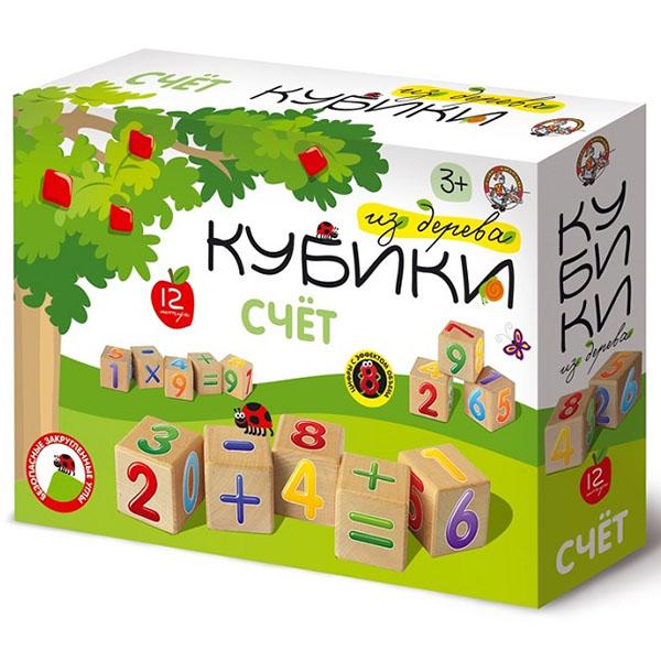 """цена на Десятое Королевство TD01715 Кубики деревянные """"Счет"""", (12 шт.)"""