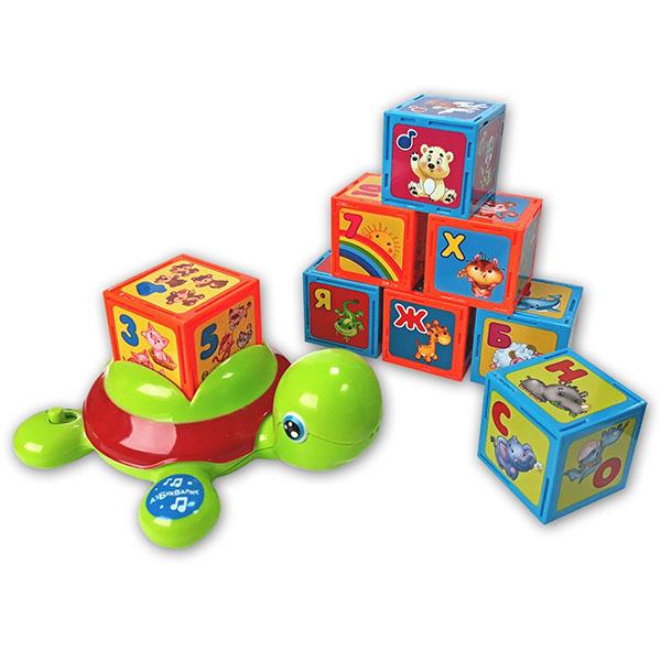 Азбукварик 2244 Черепашка-Умняшка с кубиками музыкальная игрушка в виде черепашки с кубиками черепашка умняшка с кубиками