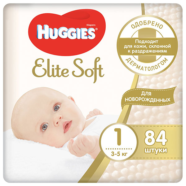 Huggies 9400113 Хаггис Подгузники Элит Софт 1 (до 5кг), 84 шт