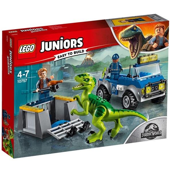 Lego Juniors 10757 Конструктор Лего Jurassic World Грузовик спасателей для перевозки раптора