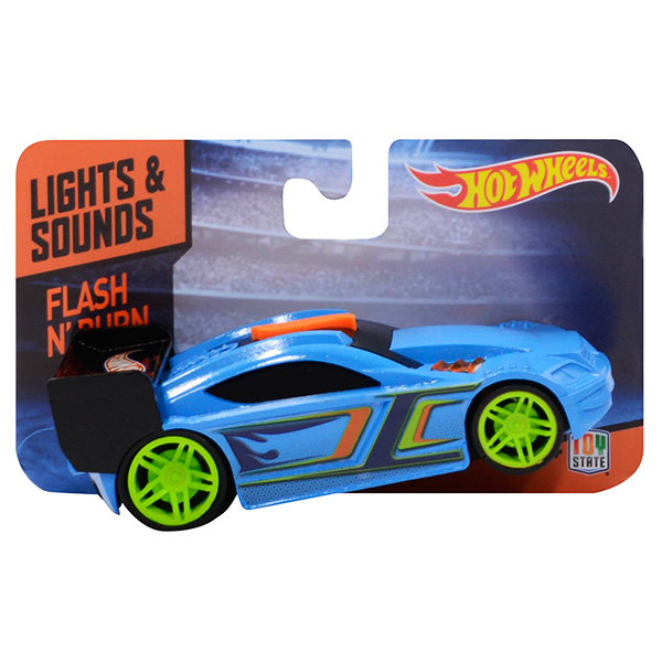 Hot Wheels HW91601 Машинка Хот вилс на батарейках свет+звук, голубая 13 см