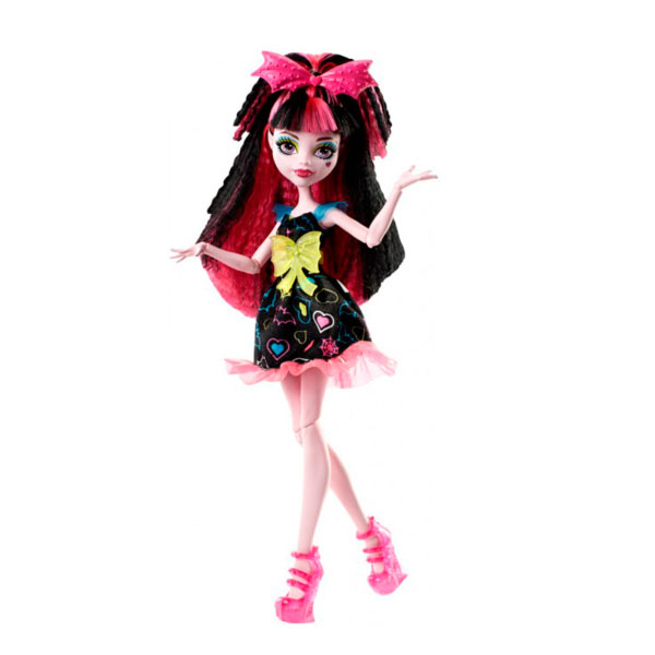 Mattel Monster High DVH67 Школа Монстров Неоновые монстряшки из серии Под напряжением Дракулаура куклы и одежда для кукол монстер хай monster high кукла frankie stein из серии шапито