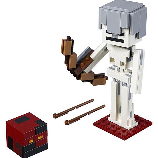 LEGO Minecraft 21150 Конструктор Лего Майнкрафт Большие фигурки Minecraft, скелет с кубом магмы