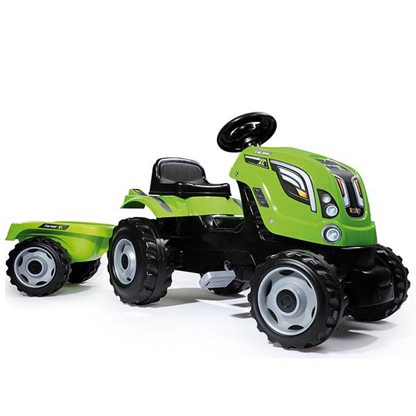 Smoby 710111 Трактор педальный XL с прицепом, зеленый smoby 710108 трактор педальный xl с прицепом красный